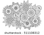 Doodle Floral Drawing. Art...