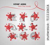 medical hiv aids thin line... | Shutterstock .eps vector #511110616