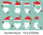 santa hats  moustache and... | Shutterstock .eps vector #511135066