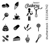 black vector bakery and sweets... | Shutterstock .eps vector #511146742