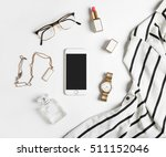 stylized feminine flatlay with... | Shutterstock . vector #511152046