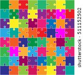 64 multi colorpuzzles pieces... | Shutterstock .eps vector #511152502