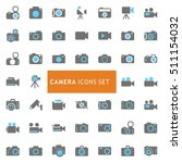 blue and gray camera icon set.... | Shutterstock .eps vector #511154032