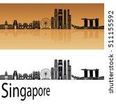 singapore v2 skyline in orange...   Shutterstock .eps vector #511155592