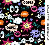 seamless pattern pop art style  ...   Shutterstock .eps vector #511159405