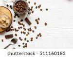 jar coffee chocolate scrub top...   Shutterstock . vector #511160182