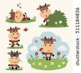 Funny Isolated Cow. Vector Set...