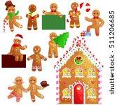 set christmas cookies... | Shutterstock .eps vector #511206685