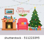 christmas room interior with... | Shutterstock .eps vector #511223395