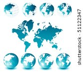 world map and globes | Shutterstock .eps vector #51122347