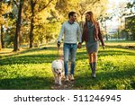 Stock photo couple walking the dog together in the park 511246945