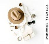 flat lay trendy creative... | Shutterstock . vector #511251616