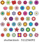 flowers filled line icons   Shutterstock .eps vector #511256092