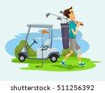 golfer man character playing... | Shutterstock .eps vector #511256392