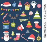 set of christmas stickers | Shutterstock .eps vector #511267405