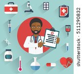 african doctor showing... | Shutterstock .eps vector #511290832