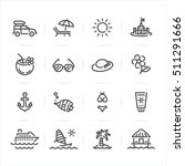 summer and beach icons with... | Shutterstock .eps vector #511291666