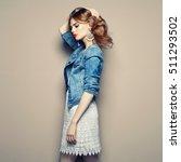 fashion portrait of beautiful... | Shutterstock . vector #511293502