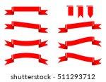 set of various red ribbon for...   Shutterstock .eps vector #511293712