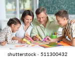 happy family drawing | Shutterstock . vector #511300432