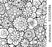 black and white seamless floral ... | Shutterstock .eps vector #511314586