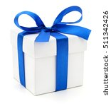 Gift Box With Blue Ribbon On...