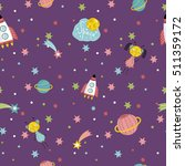 cartoon space background with... | Shutterstock .eps vector #511359172