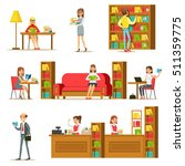 people taking and reading books ... | Shutterstock .eps vector #511359775