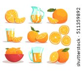 oranges and orange juice cool... | Shutterstock .eps vector #511359892