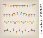 set flat christmas lights... | Shutterstock .eps vector #511368526
