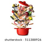 Big Red Pot With Vegetables An...