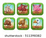 funny cartoon farm game logo...
