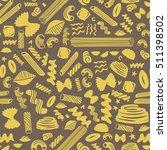 pasta seamless pattern on brown ... | Shutterstock .eps vector #511398502