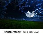 green night field. star sky | Shutterstock . vector #511403962