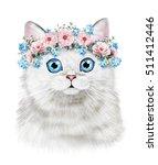 cute cat. watercolor cat...   Shutterstock . vector #511412446