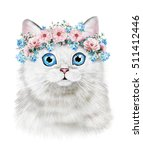 Stock photo cute cat watercolor cat illustration t shirt print greeting card poster kitten wreath of 511412446