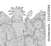 vector hand drawn pineapple ... | Shutterstock .eps vector #511423066