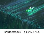 man rowing in glowing green... | Shutterstock . vector #511427716