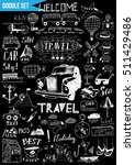 big doodle set   travel | Shutterstock .eps vector #511429486