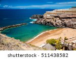Small photo of aerial view of a small Abama beach on the west coast of Tenerife, Canary islands, Spain