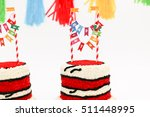 red birthday cakes for party | Shutterstock . vector #511448995