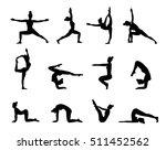 yoga poses silhouette.... | Shutterstock .eps vector #511452562