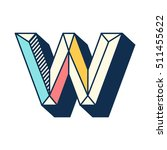 w letter abstract retro pop... | Shutterstock .eps vector #511455622