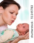 young mother stands and holds... | Shutterstock . vector #51145783