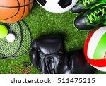 various sport tools on grass   Shutterstock . vector #511475215