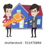 real estate agent giving key to ... | Shutterstock .eps vector #511476886