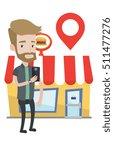 hipster man holding smartphone... | Shutterstock .eps vector #511477276