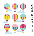 vector hot air balloon set.  | Shutterstock .eps vector #511482676