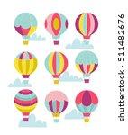 vector hot air balloon set.  | Shutterstock .eps vector #511482676