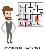 hipster businessman looking at... | Shutterstock .eps vector #511487806